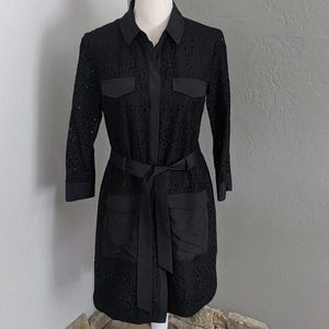 CE CE BLACK EYELET SHIRT DRESS